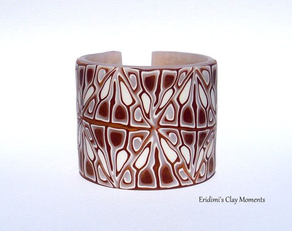 OOAK Bracelet polymer clay cuff white gold wedding