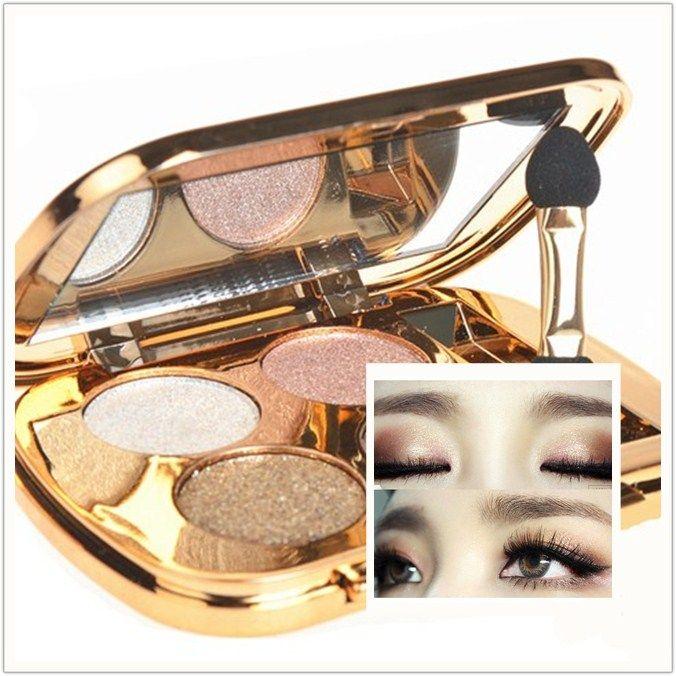 Maquillaje Desnudo de Sombra de Ojos Brillo Paleta de Sombra de ojos Sombra de Ojos Ahumada fosca maquiagem paleta de sombra Brillante Sombra de Ojos 4 Colores