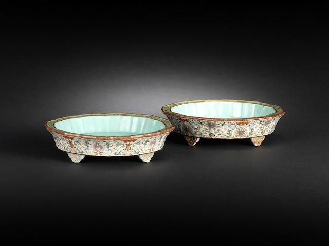 A pair of famille rose flowerpot stands Qianlong