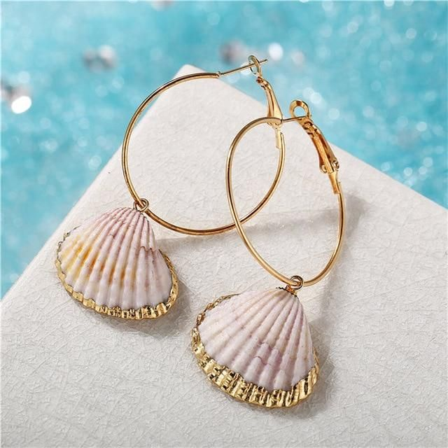 Cowrie Shell Earrings Shell Hoops Beach jewelry Shell Earrings Summer Boho Earrings Beach earrings Cowrie Boho Earrings