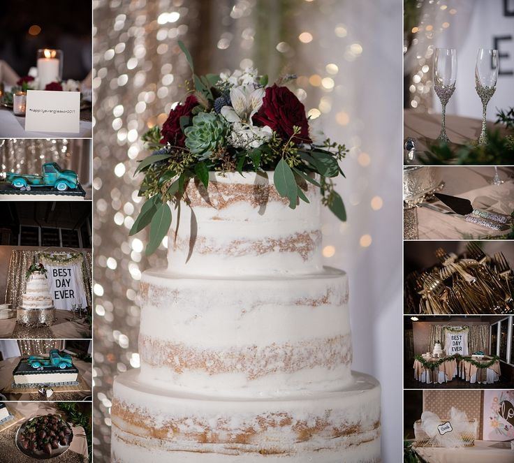 Wedding reception cake and dessert table at Stockyard Station Fort Worth Stampede Room photos by wedding photographer Vanja D Photography www.vanjad.com