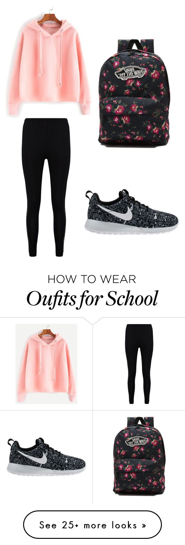 """school casual"" by pendletonanashia on Polyvore featuring Boohoo, NIKE and Vans"