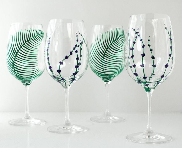 Garden Party Hand Painted Glasses 4 Piece von MaryElizabethArts