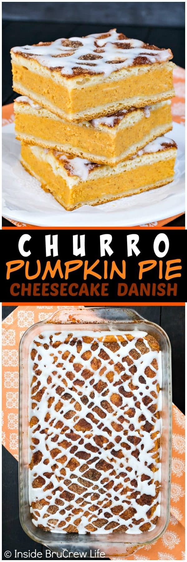 Churro Pumpkin Pie Cheesecake Danish - this easy pastry has a sweet pumpkin cheesecake filling and a cinnamon sugar coating. It's a great way to enjoy pie for breakfast this fall! #pumpkin #cheesecake