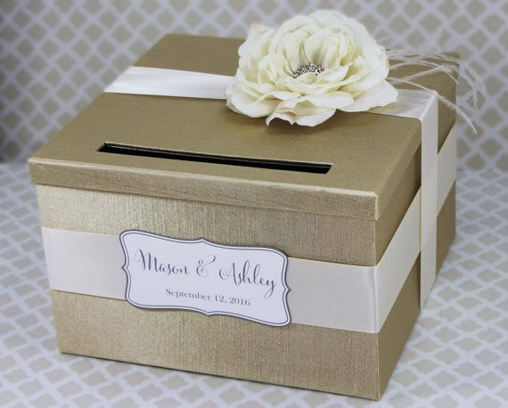 Wedding Card Box Champagne and Ivory Rose Money Holder Customizable