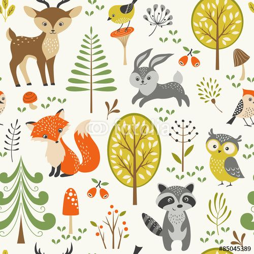 Vecteur : Seamless summer forest pattern with cute woodland animals, trees, mushrooms and berries