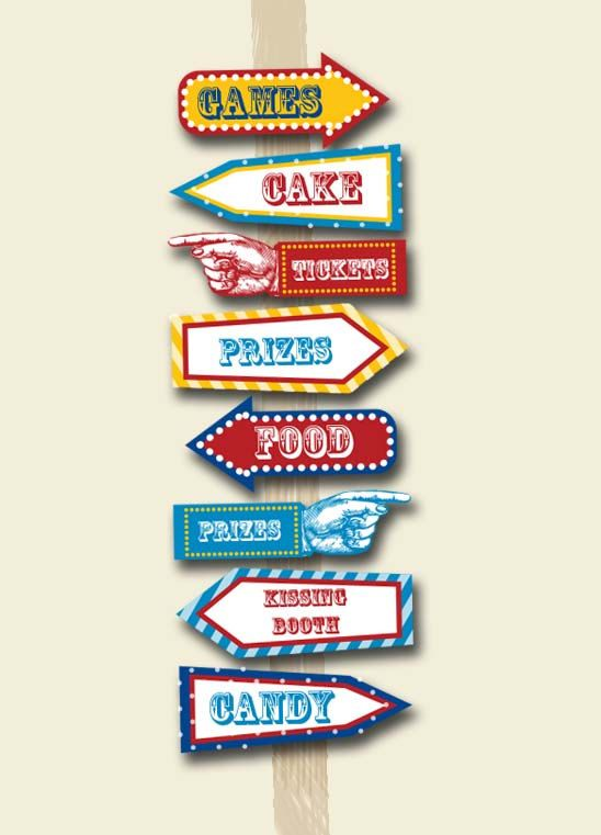 Carnival Party Signs Printable Editable Text by PopcornPrintables