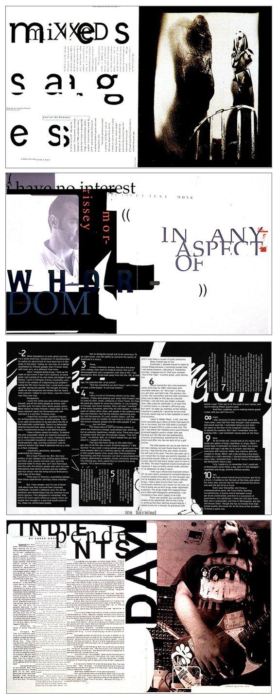 David Carson - Ray Gun layouts - 1990's                                                                                                                                                                                 More