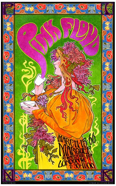Pink Floyd 1960s art nouveau concert poster by BobMasseStudios I love this so much. Buy this for me if you're reading this. No backsies.