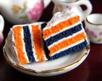 Football Cake Slice Charm , Blue and Orange Football Charm , Clay Cake Slice…