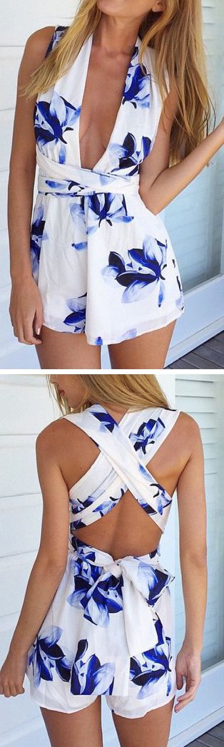 Floral plunge romper - not a big fan of the huge opening in the front but the back is super cute!