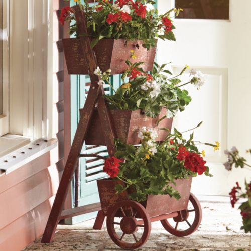 Flower Cart    Three Bins Make An Attractive Display For Colorful Potted  Plants (not Included). Easy To Assemble.