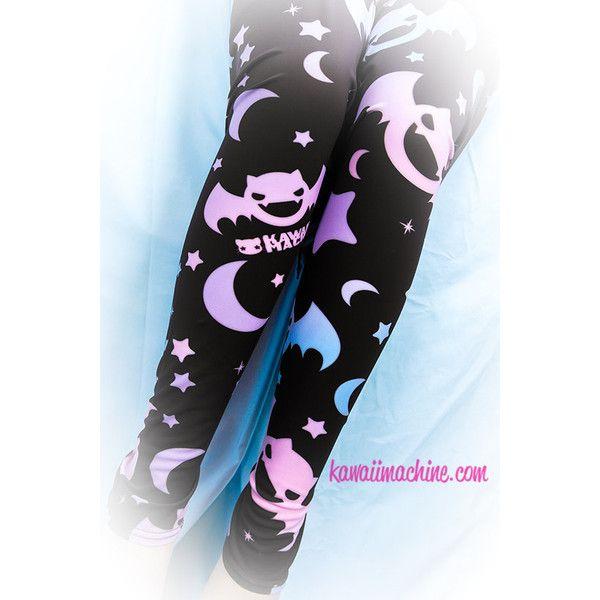 Graveyard Shift Printed Leggings (Bats, Moons, Stars) Fairy Kei Pastel... ($35) ❤ liked on Polyvore featuring pants, leggings, bottoms, kawaii, tights, pastel pants, gothic leggings, stretch leggings, gothic pants and sparkle leggings
