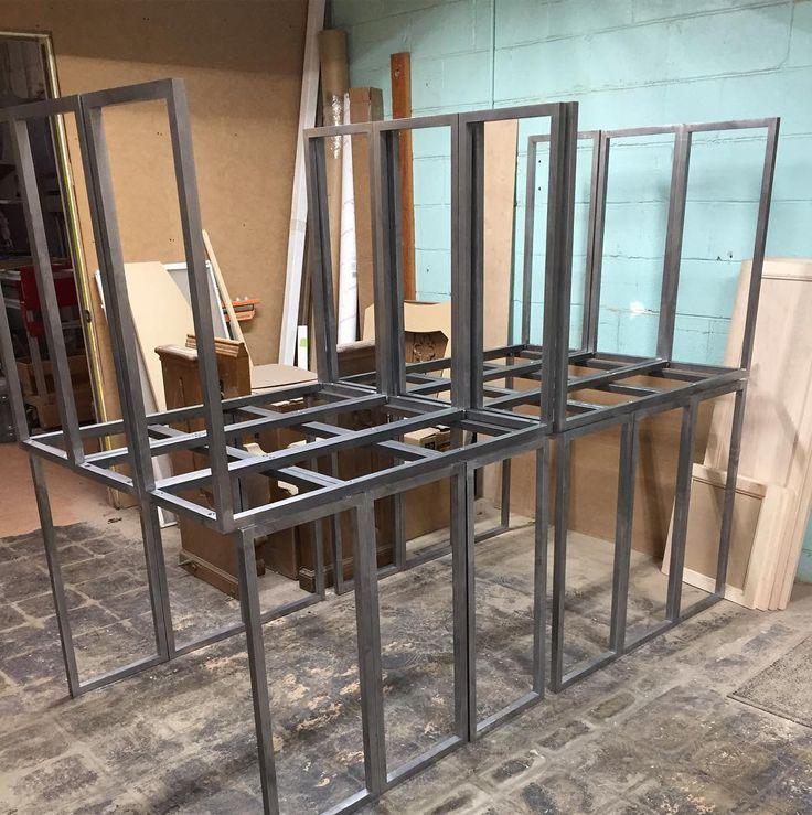 12 table bases ready for power coat #metal#metalworker#metal shop#welding #table#custom furniture #custom tables