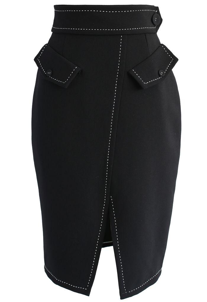 Faddish Maven Pencil Skirt in Black - New Arrivals - Retro, Indie and Unique Fashion
