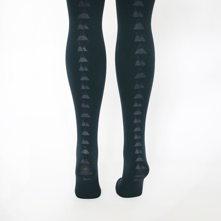 Hose Tights Forest Green Mountain Tights: We are proud to be stocking Brighton label Hose Tights! These amazing 100 denier Forest Green tights printed with mountain peaks along the back seam. Hand screen printed in Brighton.