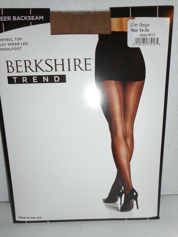 c8610cbaaca Berkshire Sheer City Beige Back Seam Control Top Pantyhose Hosiery size 2  Plus 15182379172 eBay Beige Seam Control