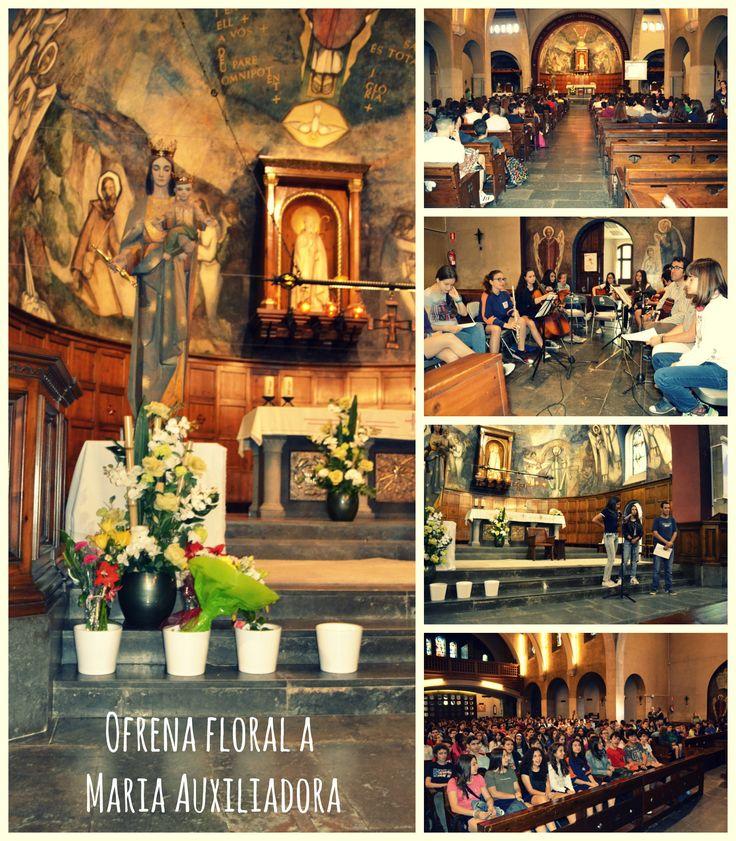 Ofrena floral a Maria Auxiliadora. Alumnes de l'ESO de Salesians Sabadell. 24 de maig de 2016.