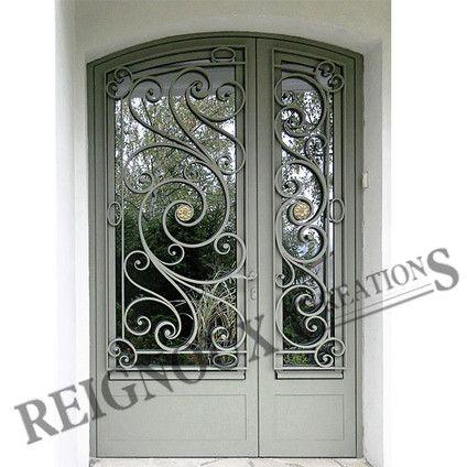 Porte d 39 entr e fer forg rosaces portes porte d 39 entr e fer portail fer forg et porte fer forg for Portail fer forge art deco