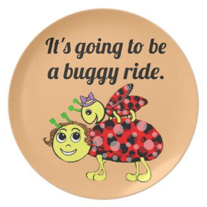 Ladybug Movie Buff Bugs at the Picnic Dinner Plate - kitchen gifts diy ideas decor special unique individual customized