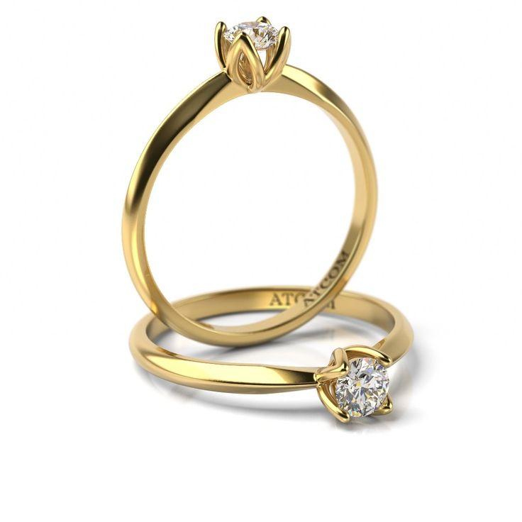 Inel de logodna cu diamant Luis din aur galben