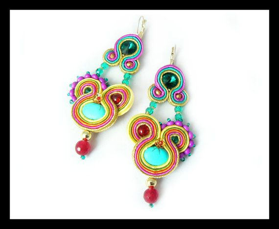 Soutache earrings Swarovski crystals turquoise by Mayasbijou €19.43 EUR on Etsy.com
