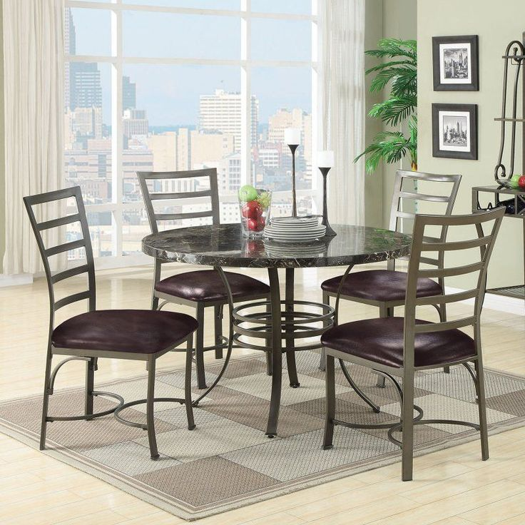 Acme Furniture Daisy 5 Piece Round Faux Marble Dining Table Set   70150