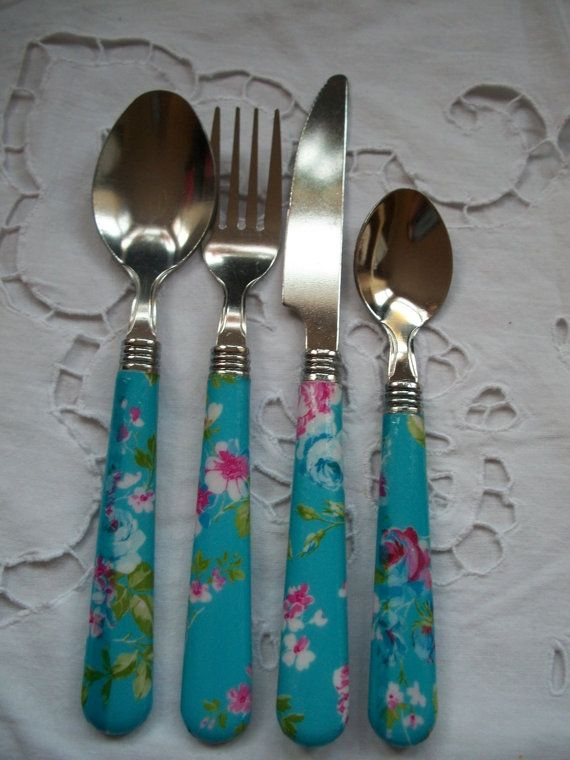 Blue floral print decoupaged cutlery set finished with a plasti-cote spray for durability, suitable for everyday use. Perk up your dining table