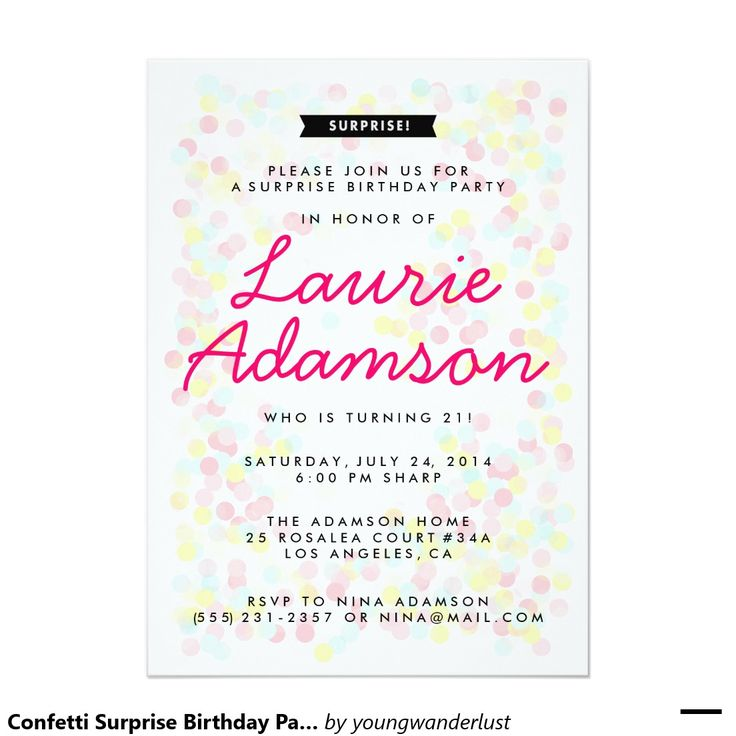 100 best birthday party invitations for women images on pinterest confetti surprise birthday party invitations stopboris Image collections