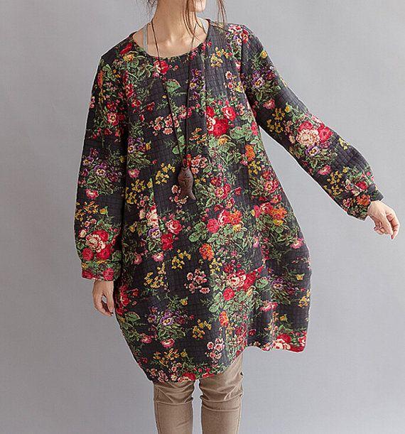 Autumn pullover cotton dress Lanterns Long sleeved dress by MaLieb