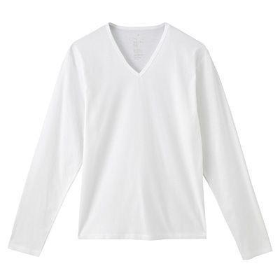 オーガニックコットン天竺Vネック長袖Tシャツ 紳士M・オフ白 | 無印良品ネットストア
