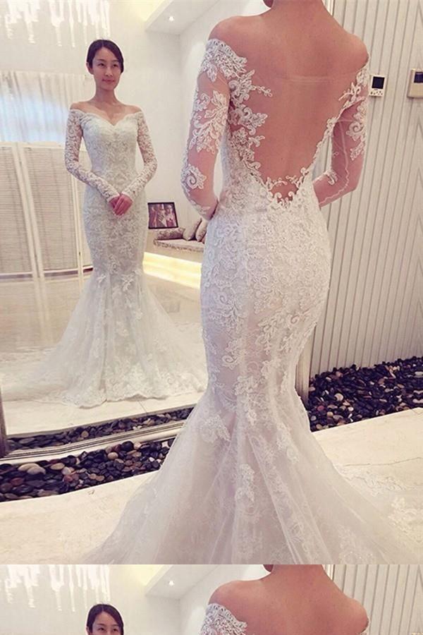 Discount Feminine Long Sleeves Wedding Dress Lace Wedding Dress