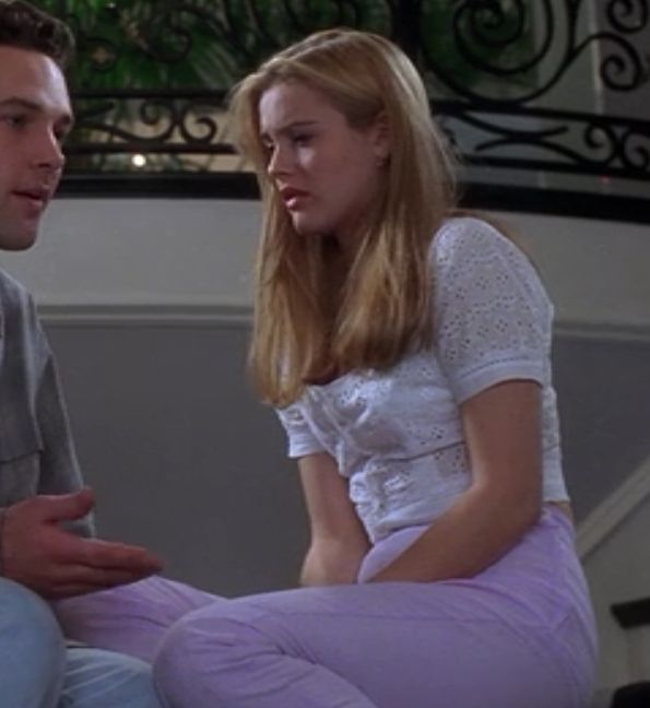 "This eyelet top with lavender jeans combo is highly underrated. | 116 ""Clueless"" Outfits Ranked From Worst To Best"
