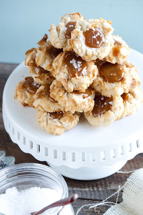 Coconut Thumbprint Cookies w Salted Caramel: Caramel Cookies, Thumbprint Cookies, Coconut Cookies, Coconut Thumbprint, Cookies W Salts, Caramel Coconut, Salts Caramel, Caramel Thumbprint, Coconut Caramel