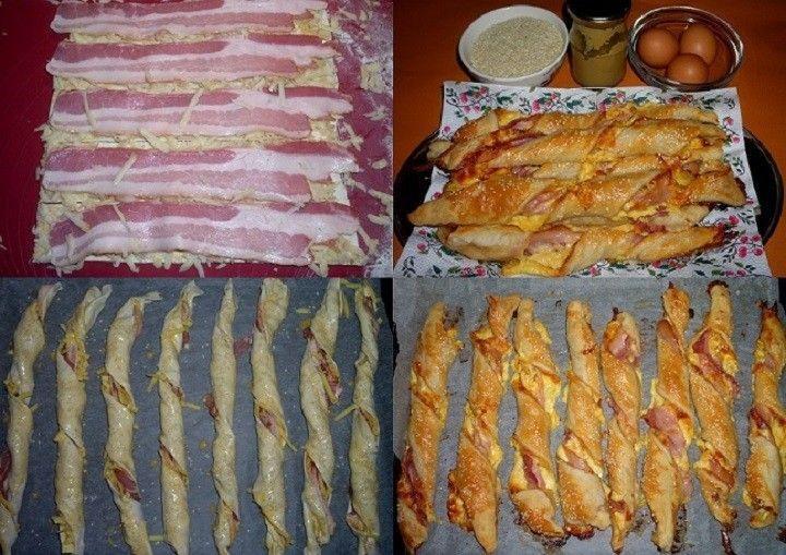 Hozzávalók:  25 dkg leveles tészta mustár reszelt sajt 25-30 dkg bacon (tojás, szezámmag)  Elkészítés:  A sütőt bekapcsoltam 180 fokra, hogy előmelegedjen. A tésztát kettévágva 2…
