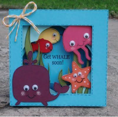 Great layered shadow box-style card with a cute ocean creatures theme: Cricut Cards Ideas, Sea Creatures, Art Ideas, Cards Boxes, Shadows Boxes, Ocean Cards, Ocean Creatures, Creatures Theme, Boxes Cards