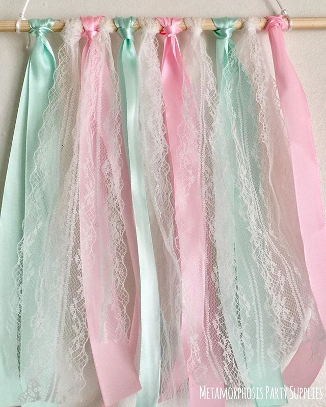 #weddingseason ✨#ribbon and #lace - the perfect match! These new ribbon hangers will be available to order very soon. #mint and #babypink are such a pretty combination. These can also be ordered as a full ribbon banner over on the website ✨. . . . . #shesaidyes #weddings #gettingmarried #engagement #weddingphotography #weddingflowers #weddingdecor #pastelwedding #caketopper #mpsandtsc #uniquepartygifts #smallbusiness #supportsmall #instagirls #instaboy #handmade #handcrafted #instakids…