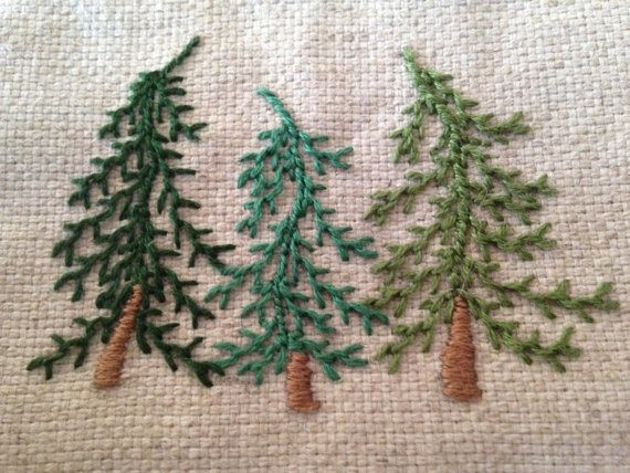 Embroidered fir trees