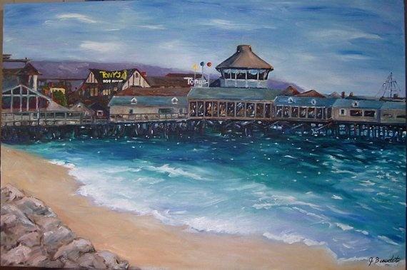 Fine art print of original oil painting redondo beach pier for Redondo beach pier fishing