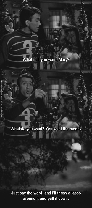 "A Favorite scene from ""It's A Wonderful Life"", (1947), Jimmy Stewart & Donna Reed. Directed by Frank Capra"