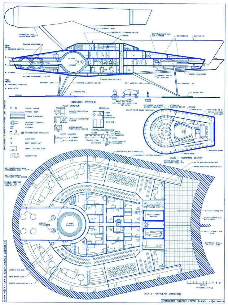 Art Elements: Line, Shape, Form, Space. Graphic & Architectural Concept renderings Romulan Bird of Prey deck plans
