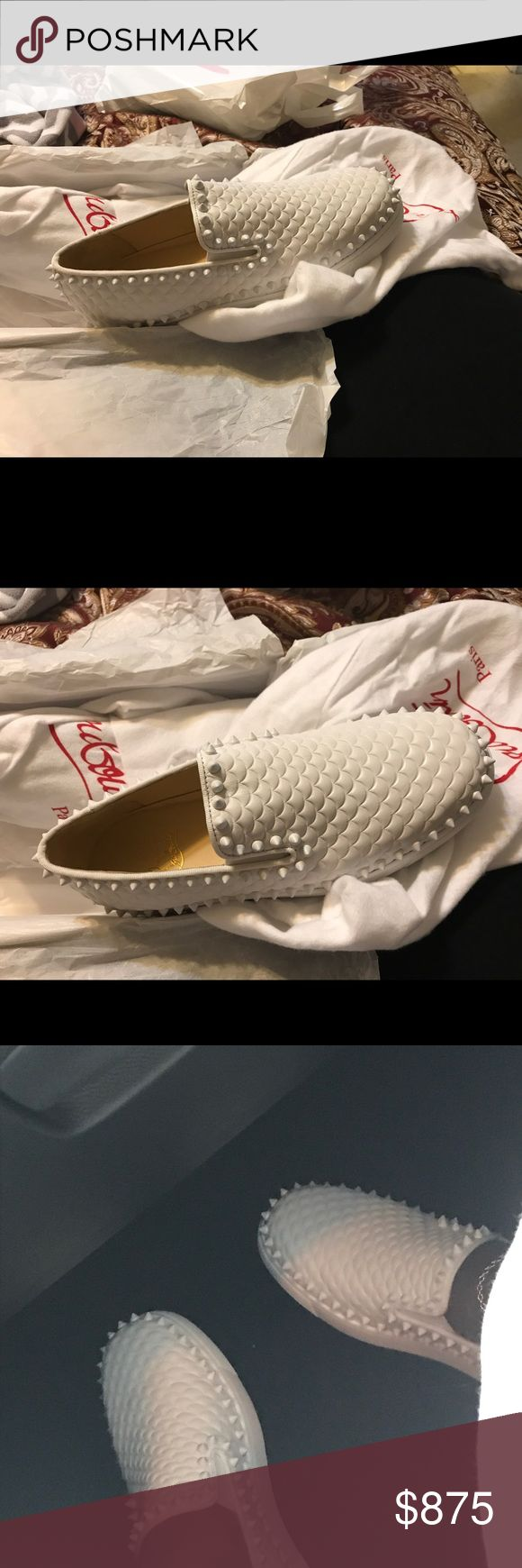Christian Louboutin spike roller boat slip on Perfect condition worn once. All white shoes with signature red soles😍😍 these are an eye catcher. Please no low ballers. Due to posh taking such of the profit I can't lower the price much. Thanks for understanding. This shoe is practically brand new Christian Louboutin Shoes Flats & Loafers