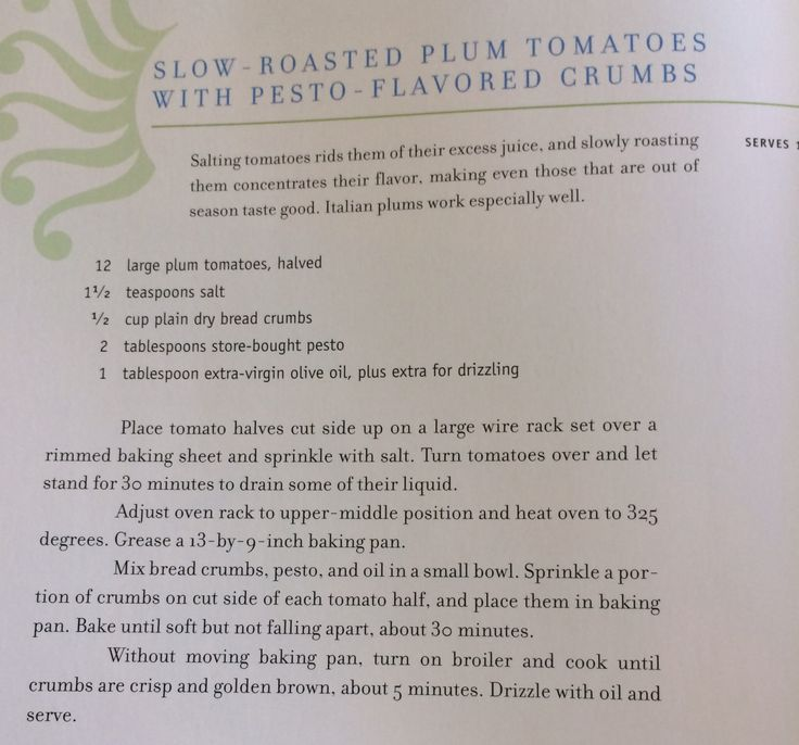 Slow roasted tomatoes with pesto & crumbs -Perfect Recipes by Pam Anderson