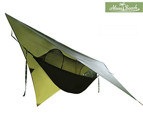 Hammock Tent with Mosquito Net for Camping Portable Hammock Kit includes Waterproof Tarp Pine Green >>> More info could be found at the image url.