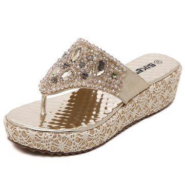 Mulheres da praia do verão sandálias de cunha outdoor moda casual diamante confortáveis sapatilhas