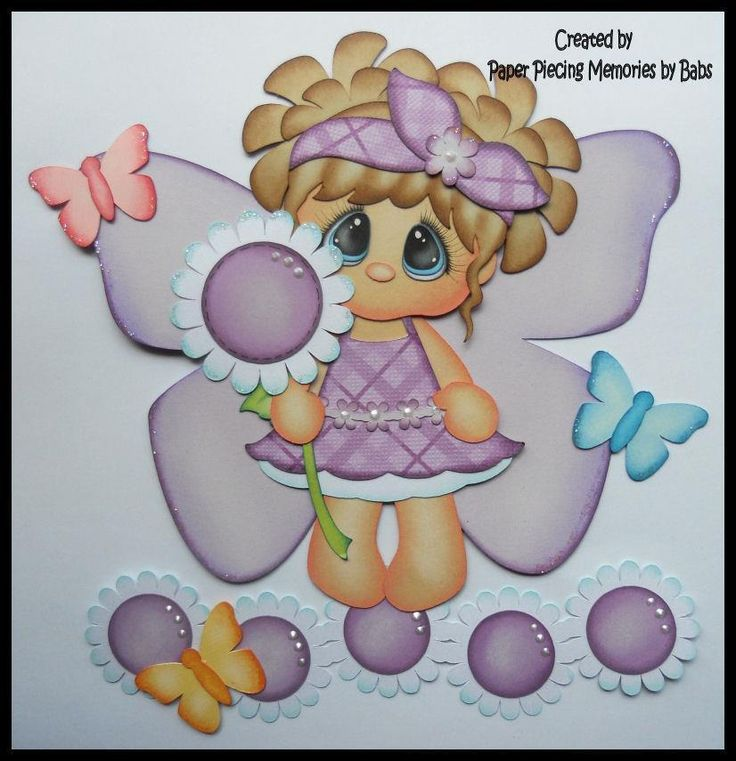 Butterfly Girl Light Hair Premade Paper Piecing for Scrapbook Pages by Babs