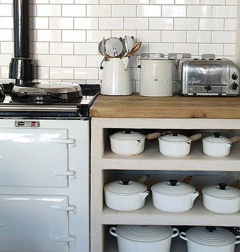 I'm a fan of the subway tiles. the open storage, the vintage accessories, the stove, and, of course, the pots.  Little too monochromatic for me though.