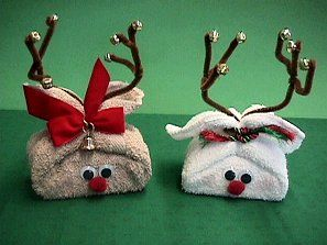 "Cute gift to give as ""thank yous!"" Towel Reindeer- cute idea for wrapping small gifts or decorating the bathroom"