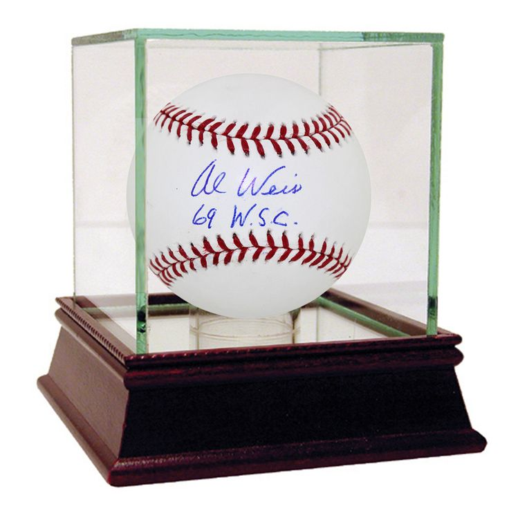 Al Weis Signed MLB Baseball w 69 WSC Insc - Mets infielder Al Weis has personally hand-signed this MLB baseball and inscribed it 69 WSC-Weis was a member of the shocking 1969 Miracle Mets. Weis role in this World Series proved to be a big one because he victimized Orioles starter Dave McNally on several occasions during the 69 World Series. First his top-of-the-ninth single scored Ed Charles with the winning run in a 2-1 victory. In game 5 at Shea Stadium Weis homered off McNally in the…