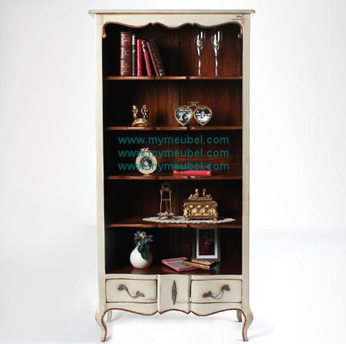 Antique Bookcase with 2 Drawer in french Furniture Style
